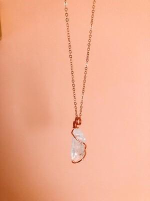 Clear Quartz Necklace, Rose Gold