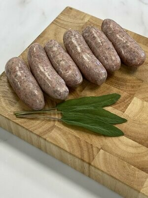 Meat: sausages. A pack of six Cumberland. Hill House Farm, Beare Green.
