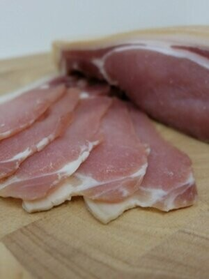 Bacon: back, unsmoked, dry-cured. A pack of eight rashers. Hill House Farm.
