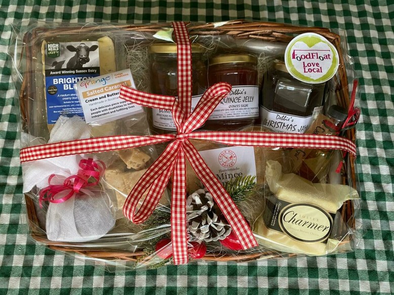 All-local Christmas Hamper: mince pies, fudge, Christmas pudding, Christmas gin, Brighton Blue & Sussex Charmer cheese, festive jam, marmalade and jelly.
