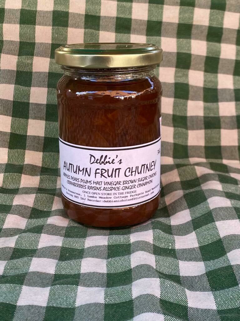 Preserves. Chutney: autumn fruit. Debbie's.