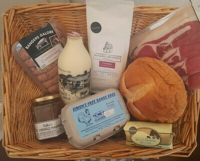 All-local Mother's Day Breakfast Box: bringing together produce from eight local producers. White cob, butter, coffee, milk, marmalade, eggs, sausages and bacon.