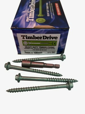 Timber Drive Screws 7.0mm x 100mm  Box of 50 Green External Coating Hex Head