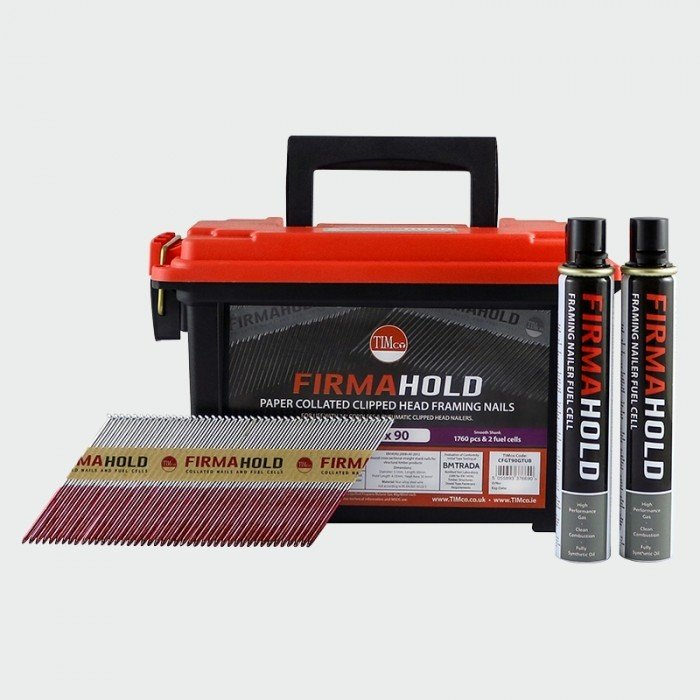 3.1 x 90mm (FirmaGalv) Ammo Case Firmahold Gas Fired 1st Fix Nails 1 box 1760 Nails & 2 Gases