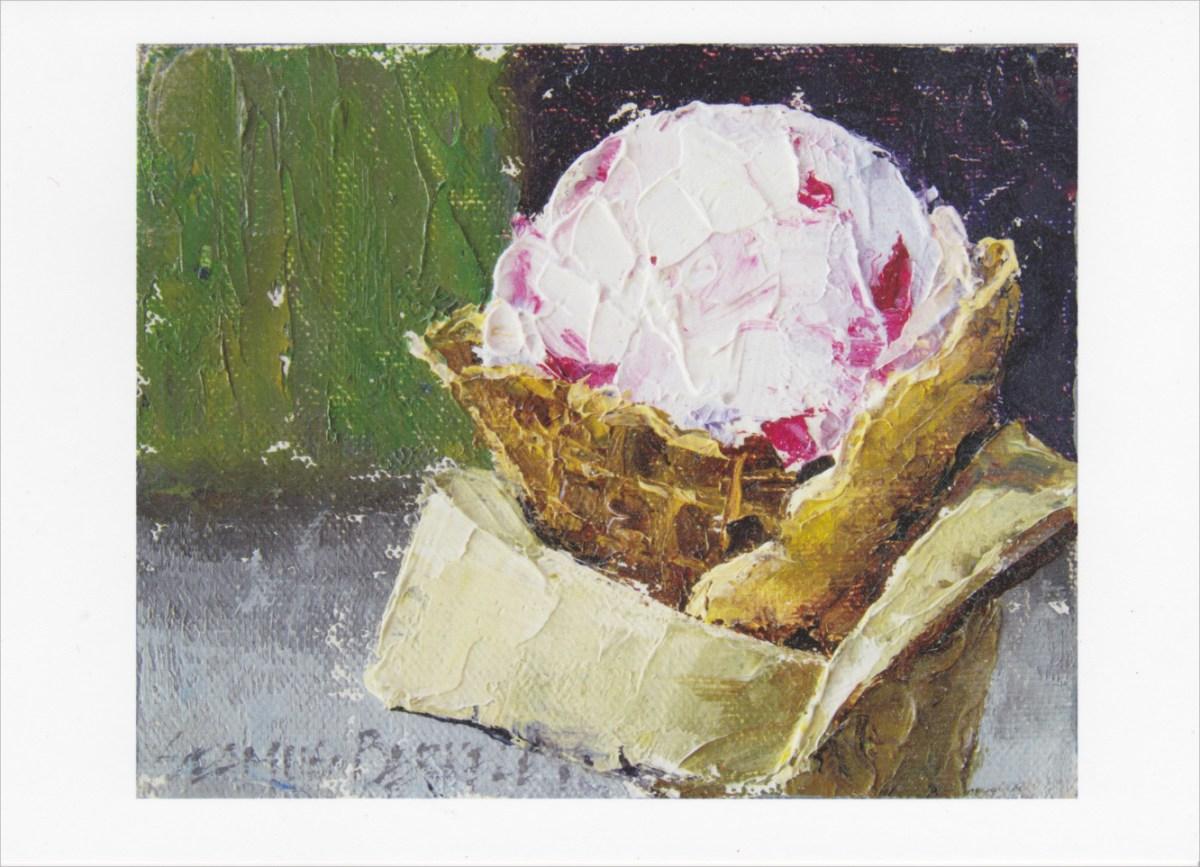 'Raspberry Goat Cheese Ice Cream' Notecard