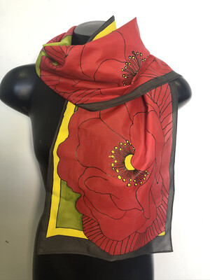 Stylized Poppies Scarf
