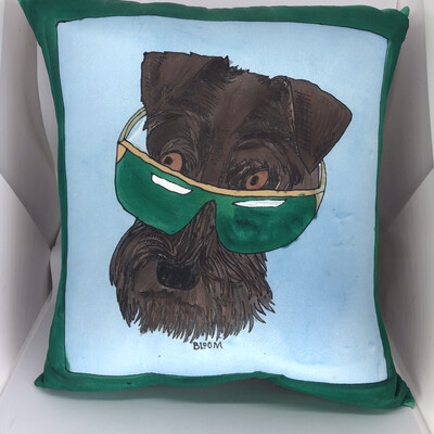 Schnauzer In Sunglasses Accent Pillow