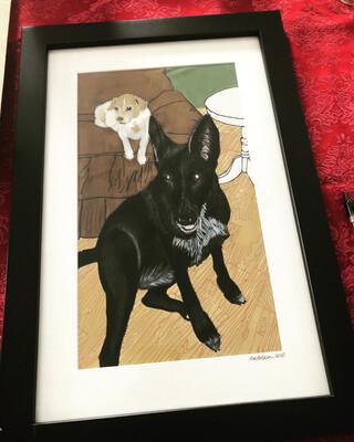 Gift Certificate- FRAMED custom pet portrait (large)
