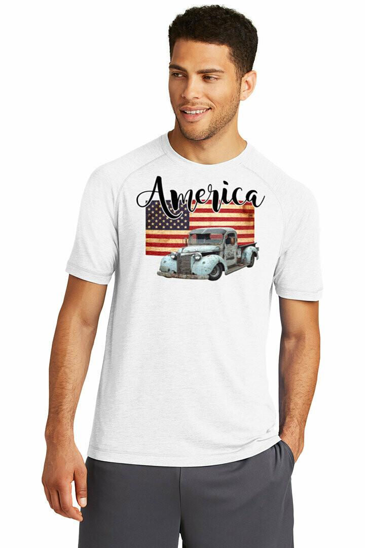 Flag and Truck America Tri-Blend Wicking Raglan Tee