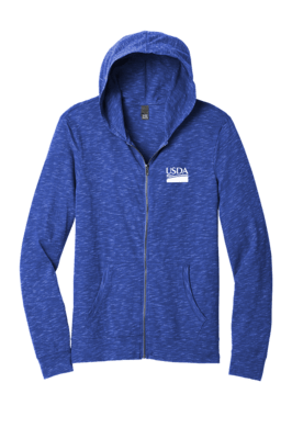 District Unisex Medal Full-Zip Hoodie  Custom Embroidery Available