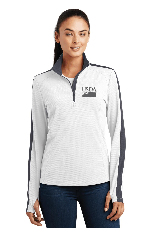 Sport-Tek® Ladies Sport-Wick® Textured Colorblock 1/4-Zip Pullover