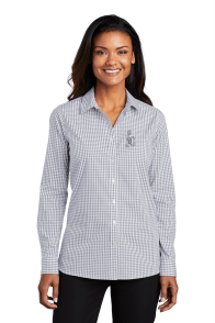 Port Authority Ladies Broadcloth Gingham Gusty Grey