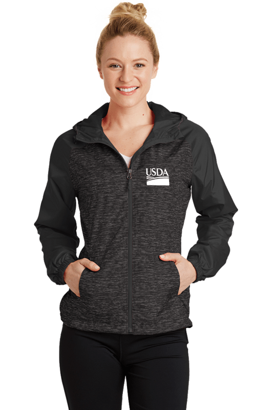 Ladies Heather Colorblock Raglan Hooded Full Zip  Wind Jacket