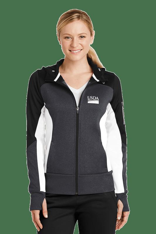 Ladies Tech Fleece Color Block Full Zip Hooded Jacket  Custom Embroidery Available