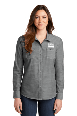 Ladies Slub Chambray Shirt  Custom Embroidery Available