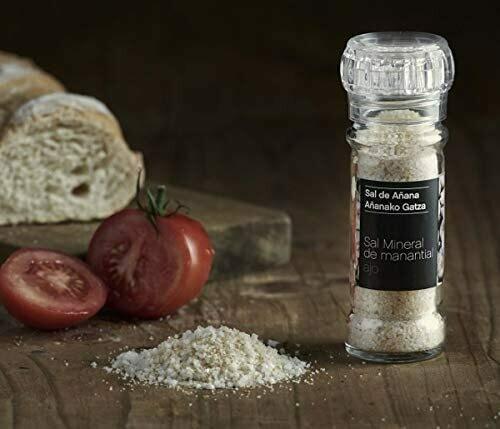 Sal de Añana Molinillo de Sal mineral de Manantial con Ajo 75g