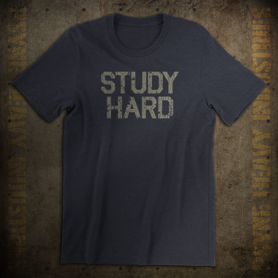 Study Hard Vintage College T-Shirt