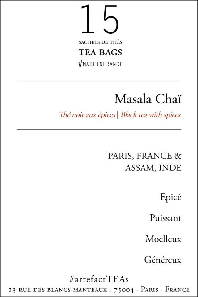 x15 Masala Chaï Sachets de Thés / Tea Bags