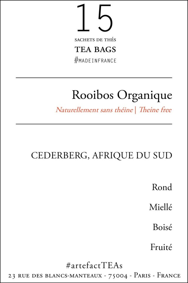 x15 Rooibos Organique Sachets de Thé   Tea Bags