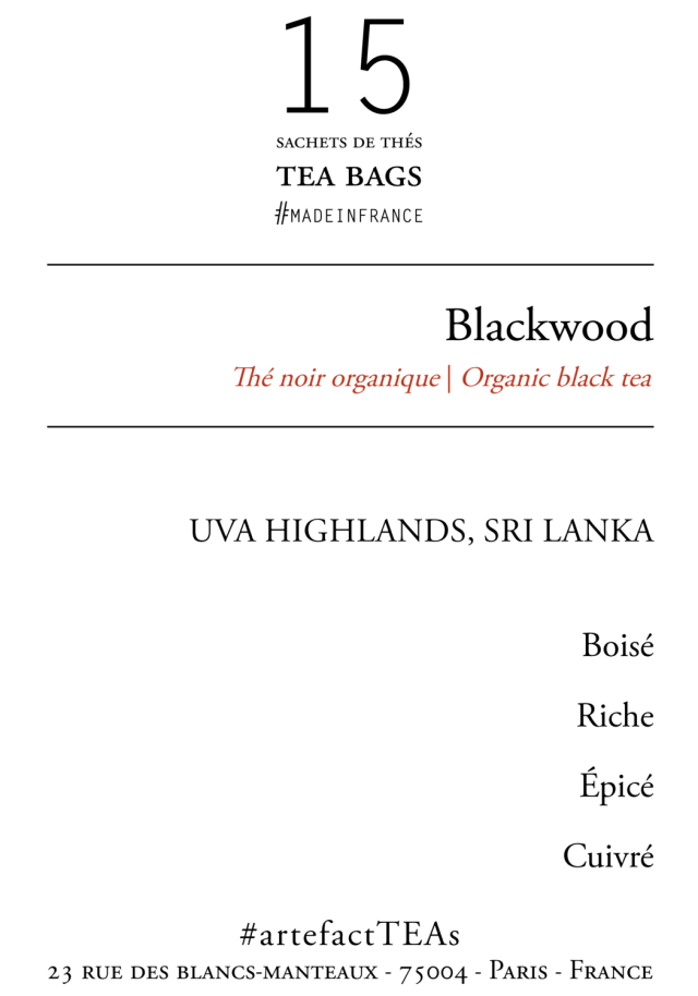 Blackwood [Thé noir BIO du Sri Lanka] Sachets de Thés / Tea Bags