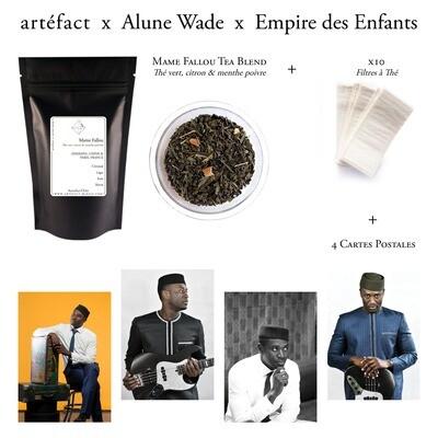 Mame Fallou Tea Set [artéfact x Alune Wade x Empire des Enfants] : Thé vert, citron & menthe poivrée + 4 Cartes postales + Filtres à thé