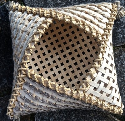 Pillow Basket: 2-session workshop. Saturdays, April 17 and 24, 2021. 3:00-7:00 PM.  Designed by Natalie Boyett, this basket is like, totally groovy.