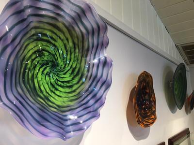 Purple Green Blown Glass Wall Platter