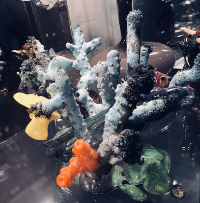 Large Coral Sculpture With Yellow Tang & Eel