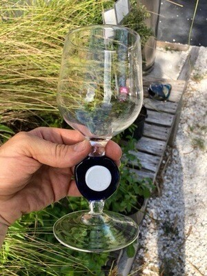 Wine glass (Single) Cobalt & White