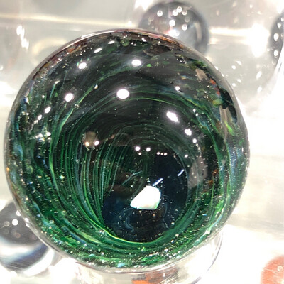 """Experimental Green Vortex Marble With Opal 2"""""""
