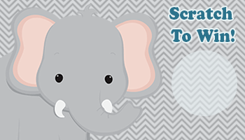 Elephant themed baby shower scratch off template