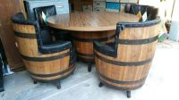 Vintage whiskey barrel table and chairs set (Antiques) in