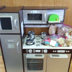 Kidkraft Toy Kitchen Oak Cabinet Doors Unisex With Food Toaster Utensils Games