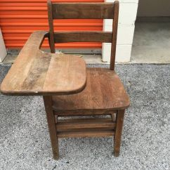 Desk Chair Offerup Hanging Pod Chairs Australia Vintage Antique Brown Wooden School W/tray (antiques) In South Holland, Il -