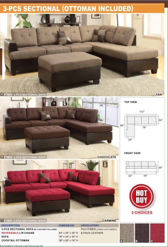 3 Piece Sectional Sofa Brand New Inside Of The Box Very Easy Assembly Required 440