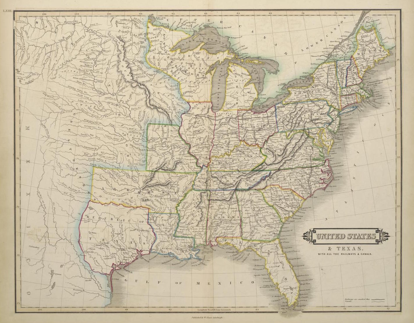 A Map Of The United States And Republic Of Texas Including