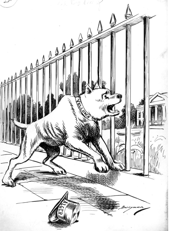 """A political cartoon titled """"Still Barking"""" by artist"""