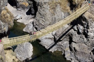 the Inca-built suspension bridge, Qeswachaka