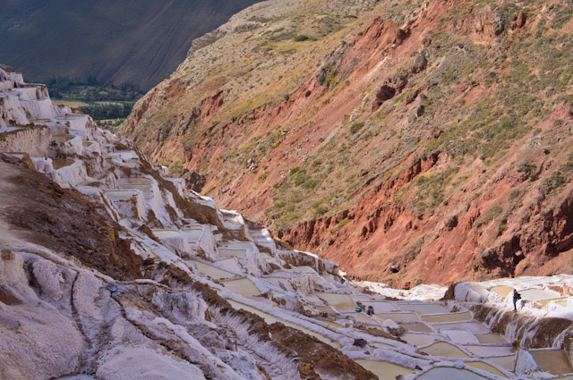 View of the salt mines in Maras, Peru