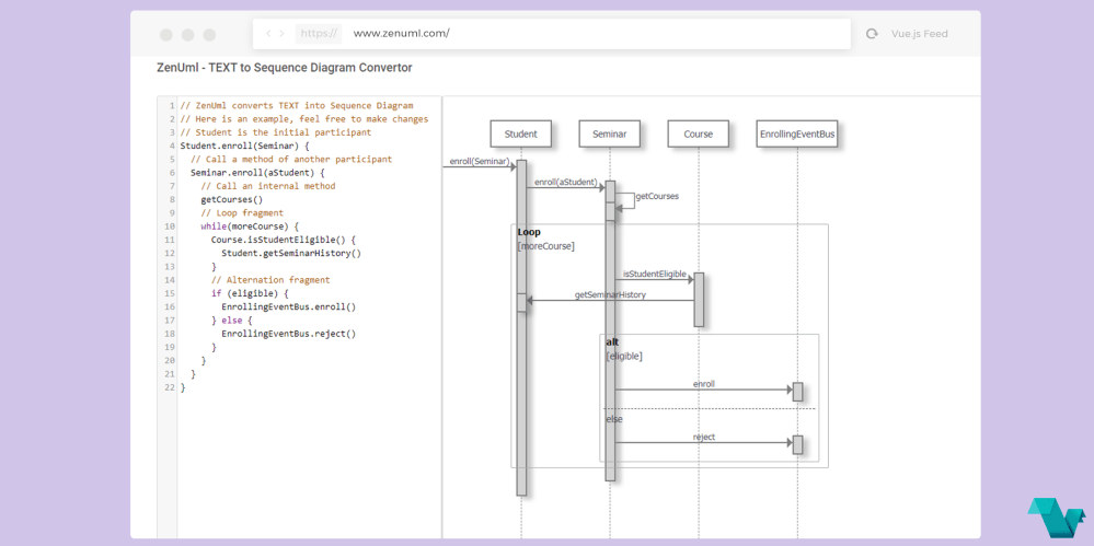 medium resolution of zenuml text to sequence diagram converter powered by vue js vue js feed