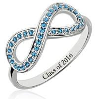 16th Birthday Gift: Full Birthstones Infinity Ring for Her
