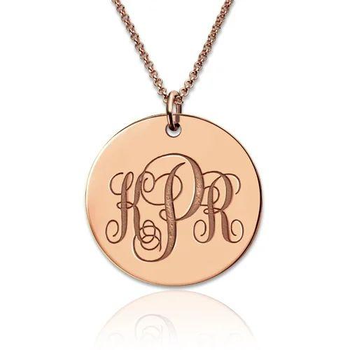 monogram gold pendant