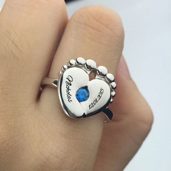 Engraved Baby Feet Birthstone Ring Mom Silver