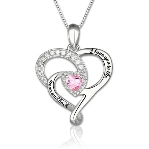 I Love You To The Moon And Back Birthstone Necklace In