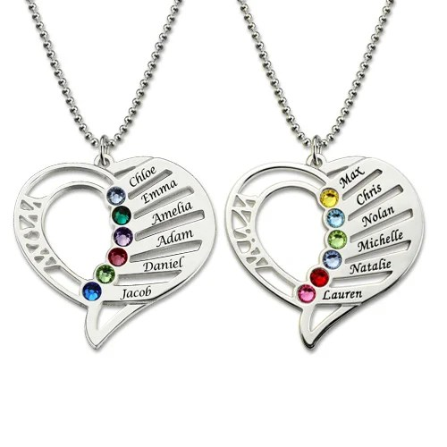 personalized mom birthstone necklace
