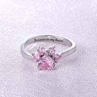 Custom Paw Print Birthstones Ring Sterling Silver