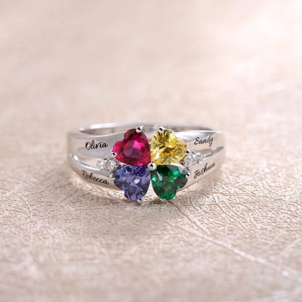 Personalisierter HerzGeburtsstein Ring mit Gravur Silber