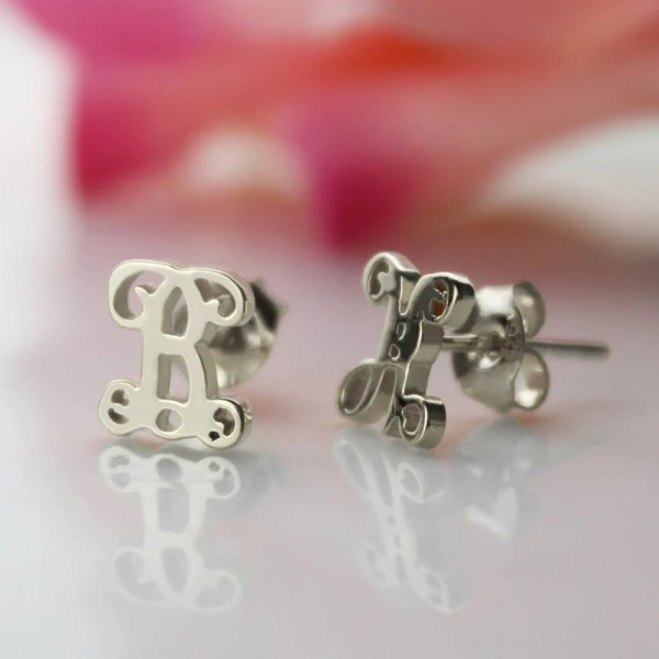 Personalized Single Initial Monogram Stud Earrings