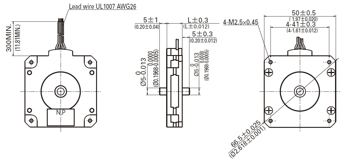 Sanyo Pancake Stepper Motor: Bipolar, 200 Steps/Rev, 50 x