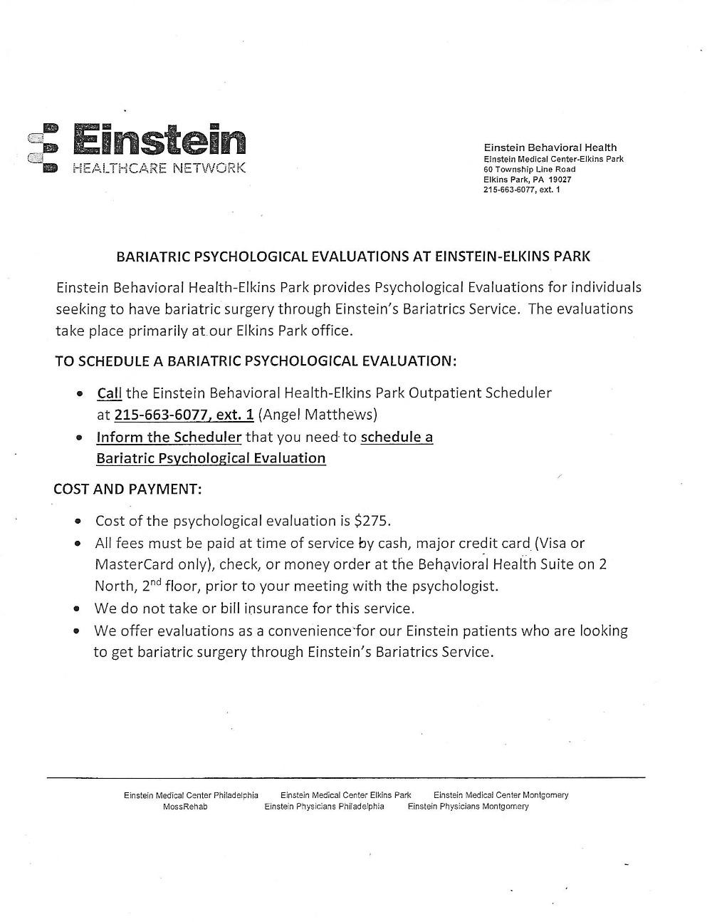 Einstein Bariatric Information Handout